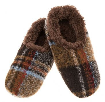 Mens Plaid Brown Sherpa Fleece Soft Soled Snoozies Slippers ALMOST GONE